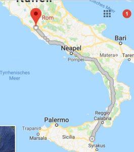 Strecke nach Rom vorbei an Pompei